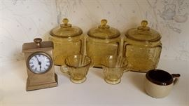 Amber glass biscuit jars