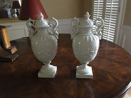 Vintage white glazed urns