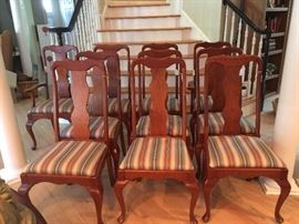 2 Arm and 8 Queen Anne Dining Room Chairs by Pennsylvania House