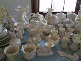 Belleek vases, ewers, pitchers, cream & sugar sets, candle holders, teapots, coffee pots.