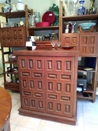 Vintage Teak Bar w/ Wall Unit
