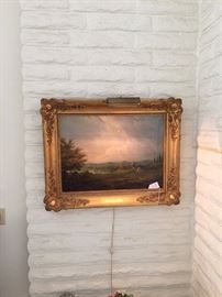 "Danish Northern landscape oil on canvas, signed and dated W. Nordgren, 1840.  Beautifully framed in a wood gesso and gilt wood with chased corners frame. 27""H x 35""W"
