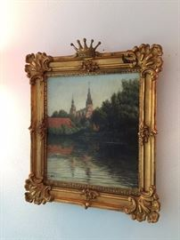 "Fabulous framed late 19th century, signed oil on canvas painting.  ""Christianborg Palace view from the river"", 19in high; 16in wide"