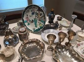 Large selection of vintage and antique sterling serving pieces and flatware