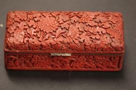 carved cinnabar box
