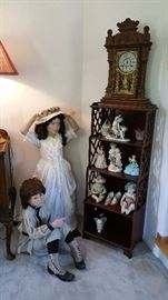 two child mannequins....see more info about them in their individual photos.  vintage what-not shelf, gingerbread clock