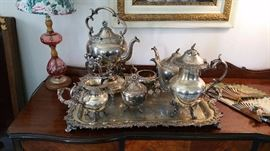 elaborate 8 piece silver plate tea set with tray