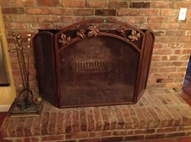 Fireplace screen, andirons and tools