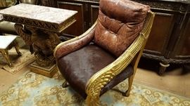 Louis XIV Carved Eagle Chair Designer Tooled Leather and Brazilian CowHide Upholstery
