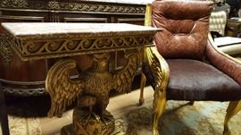Louis XIV Marble Top Carved Incredibly Ornate Eagle Side Table