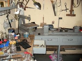 grinder lathe, saw, hand tools work benches
