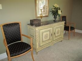 PAIR OF SIDE CHAIRS AND BUFFET AND DECOR