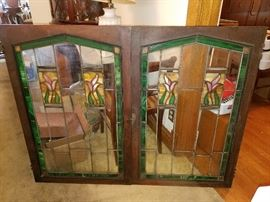 "Beautiful pair of stained glass windows!  Each measures 40"" high x 26"" wide!  WOW!"