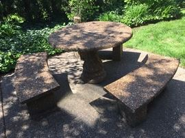 Aggregate stone patio table and benches.  Pre-sale $250