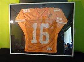 Payton Manning signed Jersey . Framed .