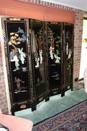 Oriental Divider Screen Mother of Pearl Inlay