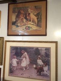 framed art -- children and their dogs