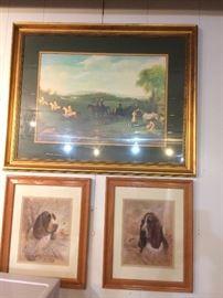 hunting dogs -- framed art