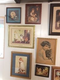 "framed art -- from the collection of ""little girls with their dogs"""