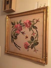 vintage framed floral / roses embroidery