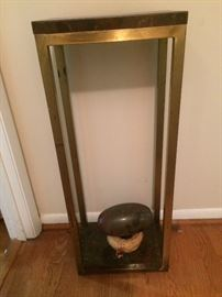 brass and faux marble plant stand
