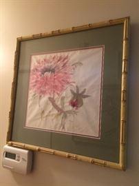 signed silk screen floral framed art