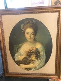 vintage framed print of woman with her dog -- from the collection of art one could check out from the Atlanta Public Library