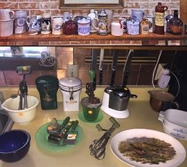 Steins and Salt Glaze Crock stoneware (bottom pic) Misc Jadite, custard glass and Green Handled kitchen tools, cobalt bowl, Juice O Matic Mid Century Juicer squeezer.
