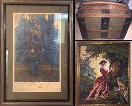 Signed original Photograph of General John Purshing, a rounded top Steamer Trunk and a large needlepoint picture.