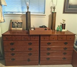 2 Ethen Allen Dressers, with MM bomb Shell Casing lamps...trench art!