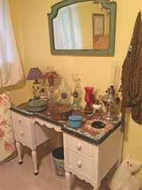 Misc Oil Lamps, old tins and a nice Distressed Dresser and Mirror