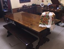 Farmers Plank Dining Table with 2 Benches and an old picnic basket with a 50's never used Hawaiian Tablecloth...great for those Mad Men Tiki Parties!