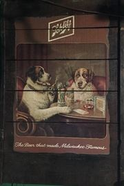 Schlitz Dogs Vintage Beer Sign - Painted on Wood