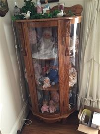Vintage Bow Front curio cabinet