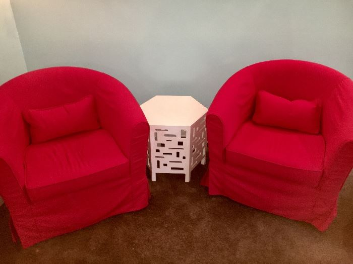 Ikea barrel chairs with cusion