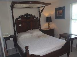 Half tester rosewood antique bed
