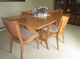 Haywood Wakefield dining set.  Includes 2 leaves and table pads