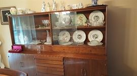 Mid-Century Modern China Hutch & Contents