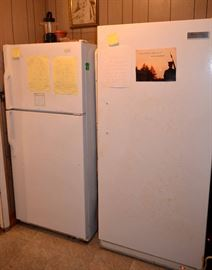 Admiral refrigerator,  Frigidaire freezer