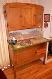 "Hoosier/Sellars  style cupboard with ""Marsh"" ""Highpoint NC"" tag"