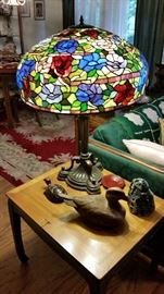Fantastic Large Pair of Stain Glass Lamps