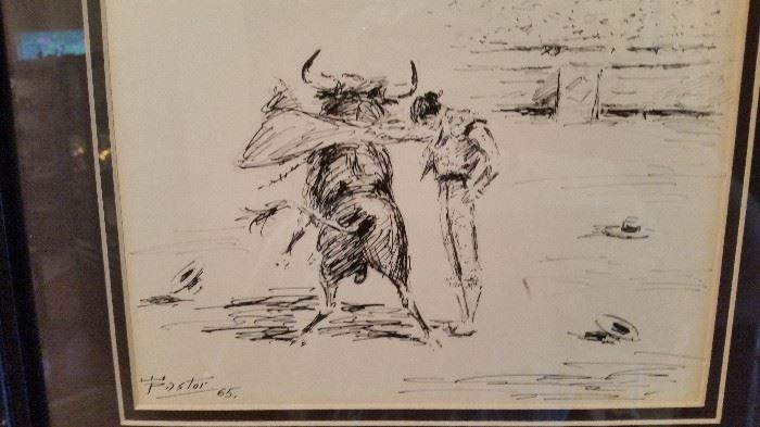 Pastor Bull Fight Etchings