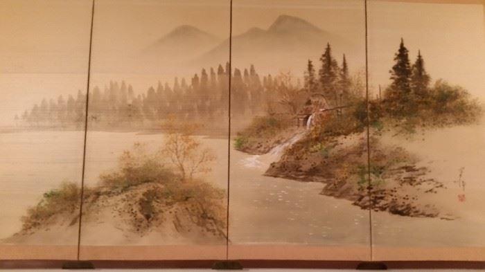 Four Panel Japanese Screen