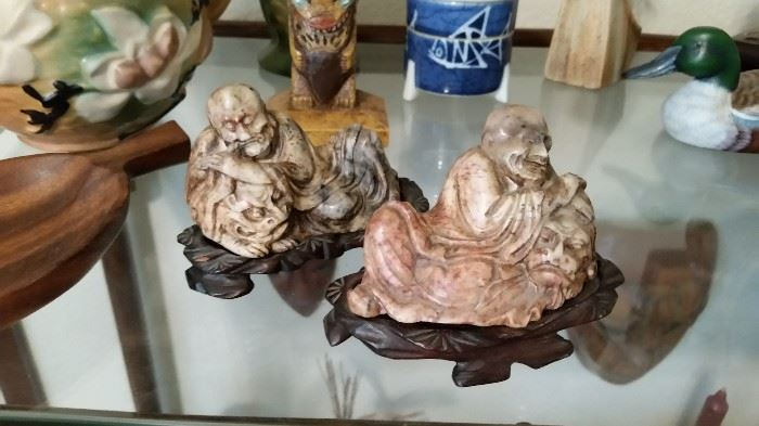 19th Century Carved Soapstone Figures - Old Men with Foo Dogs
