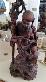 Large Handcarved Boxwood or Rosewood Figure of 1 of 8 Chinese Immortal Gods- God of Longevity- Shou Xing- Old and Original
