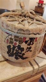 Antique Unopened Bamboo Wrapped Sake Jug- WOW!!!