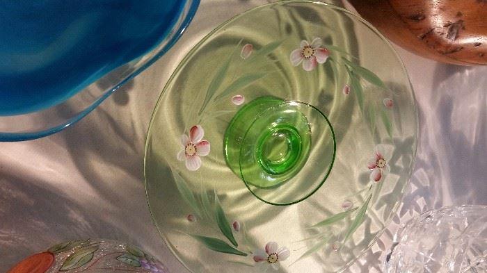 Vaseline Glass Decorated Cake Plate