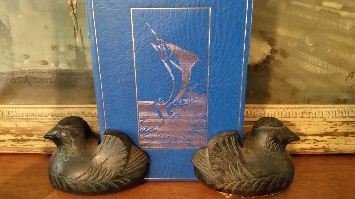 Old Bronze Hens Book Ends- Rare- For a single book only