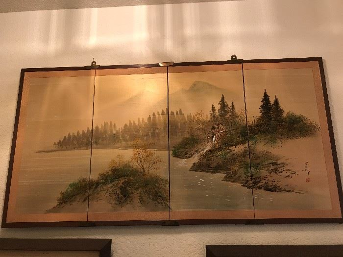 Vintage Japanese 4 Panel Painting- Signed