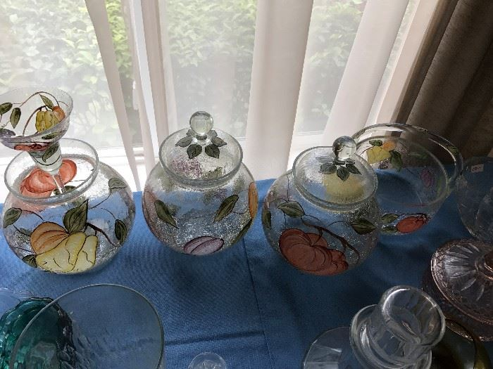 5 Pieces of American Atelier Glass- Pompeii Fruit
